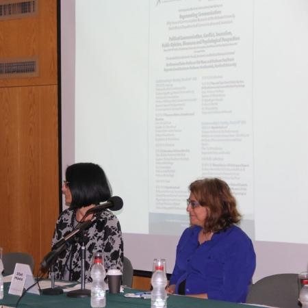 Right to Left: Prof. Ifat Maoz, Conference Chair, Head, the Swiss Center for Conflict Research, Management and Resolution; Prof. Raya Morag, Head, the Smart Family Institute of Communications