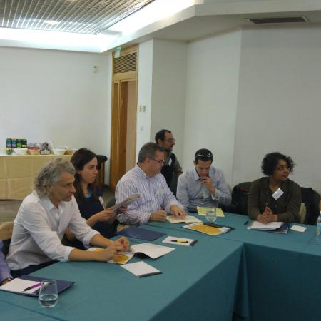 Right to Left: Prof. Linda Tropp, D Prof. Kanchan Chandra,  Prof. Michael Horowitz, (in the back) Prof. Lee Jussim, Prof. Erik Gartzke, Prof. Foniti Christia, Prof. Emanuele Castano, Prof. D. Scott Bennett