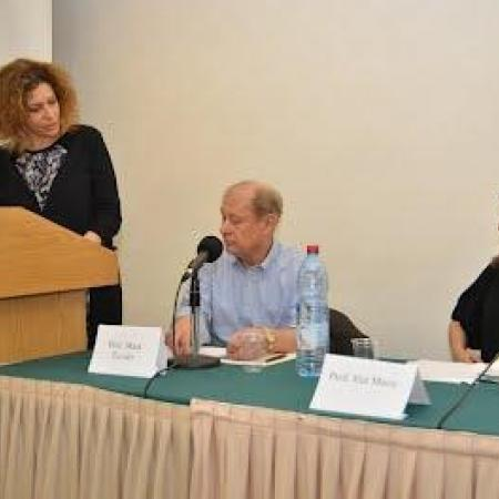 Speaking: Prof. Vered Vinitzky-Seroussi, Dean, Social Science Faculty.  Sitting: Prof. Mark Tessler, University of Michigan, Key Note Speaker, Prof. Ifat Maoz, Head, Swiss Center.